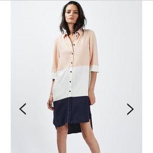 Topshop Oversized Colorblock Shirtdress